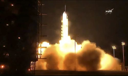 A United Launch Alliance Delta 2 rocket lifts off carrying the Joint Polar Satellite System-1. (AAP)