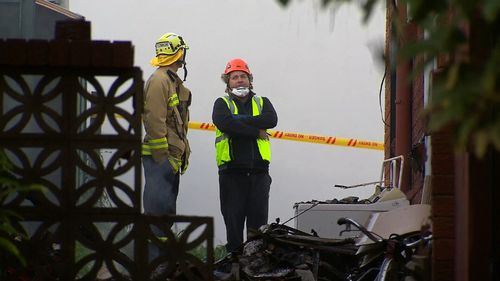 The unit block on Edgeware Road in Newtown went up in flames early this morning. (9News)