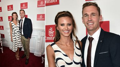 Brit Davis and Geelong footballer Joel Selwood. (AAP)