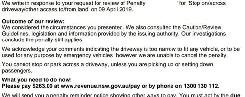 The response sent back after he questioned the fine.