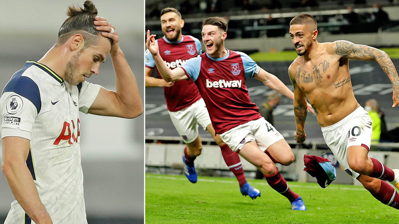 Manuel Lanzini of West Ham United celebrates after scoring his team's third goal