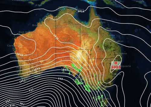 The high pressure system and low cloud has meant dry conditions wreaking havoc for NSWRFS. Image: Weatherzone