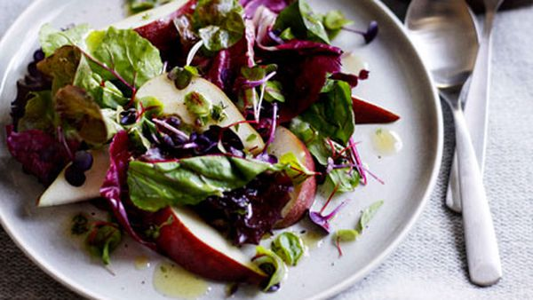 Pear and winter greens salad