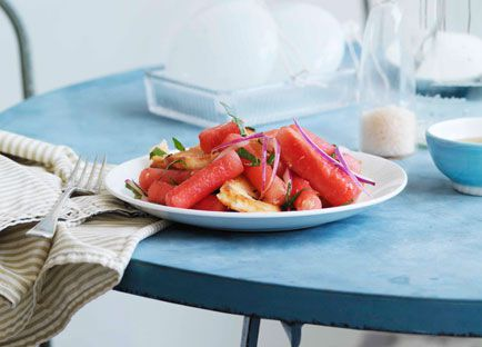 Watermelon, haloumi and bread salad