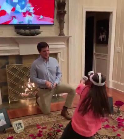 Woman playing VR proposal