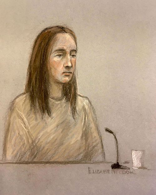 A court artist sketch by Elizabeth Cook, depicting Lucy Letby appearing via video link at court in Warrington, England.