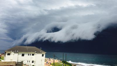 Dark storm clouds move in over Clovelly. (Supplied, Jo Ferguson)
