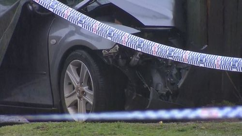 Emergency services were called to Blacktown after reports a car hit a pole.