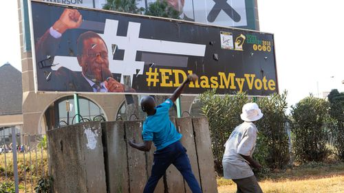 Protesters have clashed with police as results from the Zimbabwe election trickle in. Picture: AAP