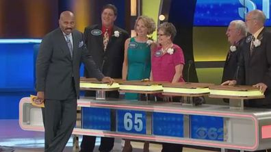 """<p>An elderly man has become an online sensation after giving a cheeky answer to a rather mundane question on the US version of Family Feud.</p> <p> The contestant, Gene, needed to respond with an answer to 'things that should be licked'. </p> <p> A lollipop and ice cream cone had both already been picked, leaving Gene with few options. </p> <p> But that didn't stop the sprightly geriatric who delivered his unique answer totally straight-faced: """"A woman."""" </p> <p> The two women on Gene's team begin clapping before yelling: """"Good answer!"""" </p> <p> Oddly enough Gene's answer did not appear on the board prompting host Steve Harvey to say: """"Folks, I can't tell you how many good answers don't show up on that board. </p> <p> Click through our glance to see more examples of bad game show answers. </p>"""