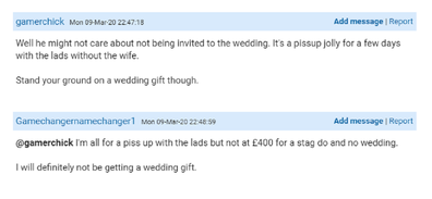 Mumsnet post about rude bride and groom re invites