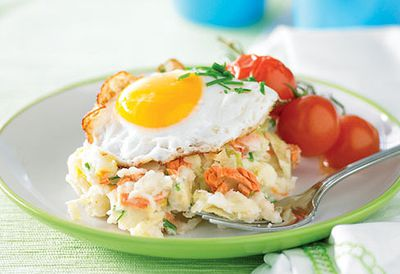 Colcannon with salmon and fried eggs
