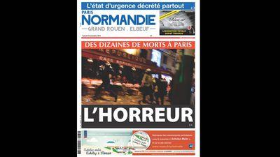 <em>Paris Normandie</em> ran 'Dozens dead in Paris: Horror'.