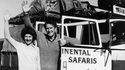Fraser won the 1975 election in a landslide, winning 30 seats from Labor to gain a 55-seat majority, the greatest ever. Fraser and his wife Tamie leaving Birdsville during a holiday in the outback with their families, 4th September 1978. (Getty Images)
