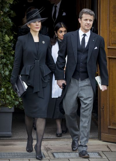 Crown Prince Frederik and Crown Princess Mary of Denmark attend the funeral of Prince Richard on March 21, 2017 in Bad Berleburg, Germany.
