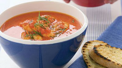 Provençal-style fish soup with garlic toast