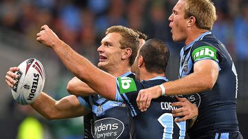Tom Trbojevic and Jake Trbojevic celebrate during Game 2 of State of Origin