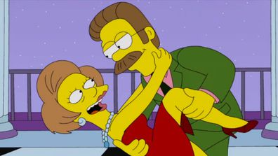 Mrs Krabappel and Ned Flanders in The Simpsons.