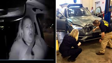 The interior moments before an Uber SUV hit a woman (left) and the damage to the car after the crash (right). (AP)