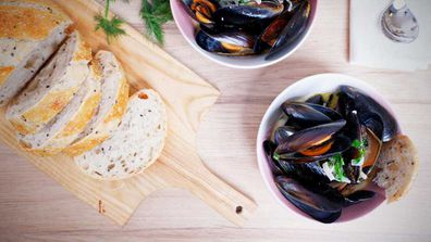 Mussels in white wine and cream are a dinner fit for kings