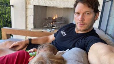 Chris Pratt with Lyla and Jack.