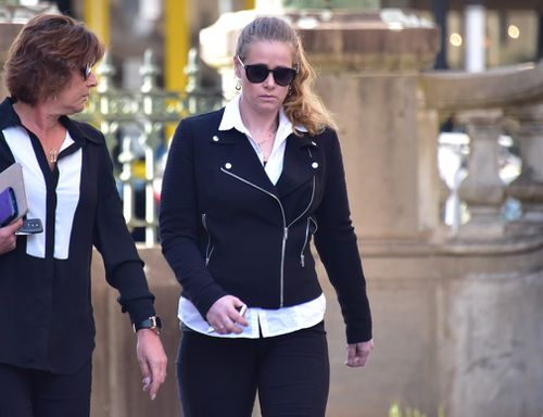 Kate DeAraugo is seen leaving the Bendigo Magistrates Court. (Image: AAP)