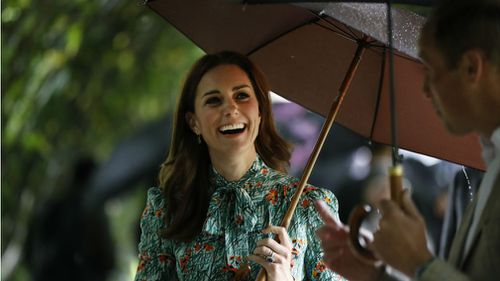 The Duchess of Cambridge, Kate Middleton at Kensington Palace gardens on August 30. (AAP)