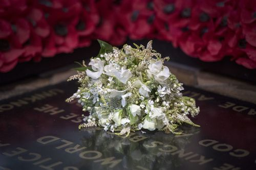 The bride's bouquet is a touching tribute in more ways than one. Picture: Getty