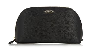 """<a href=""""http://www.net-a-porter.com/product/459543/Smythson/panama-textured-leather-cosmetics-case""""> Panama Textures-Leather Cosmetic Case, $253.56, Smythson</a>"""