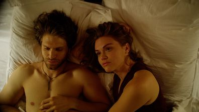 Holland Roden and Keegan Allen in Follow Me movie