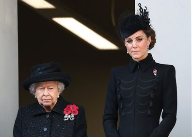 Queen Elizabeth II and  Catherine, Duchess of Cambridge attend the annual Remembrance Sunday memorial at The Cenotaph on November 10, 2019 in London, England.