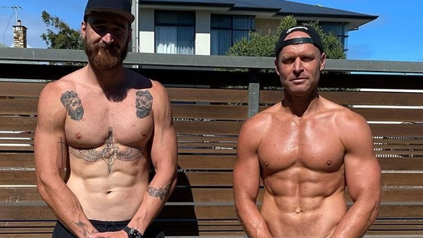 Retired AFL great Chad Cornes outshines current Port star Charlie Dixon in workout photo
