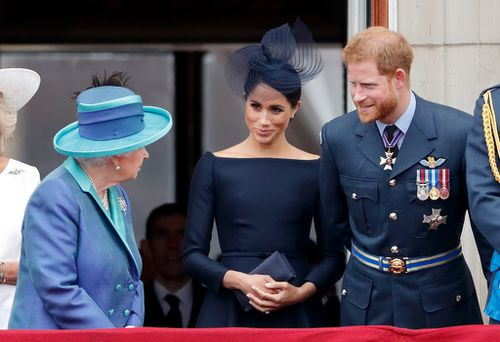 Meghan and Harry with Queen Elizabeth