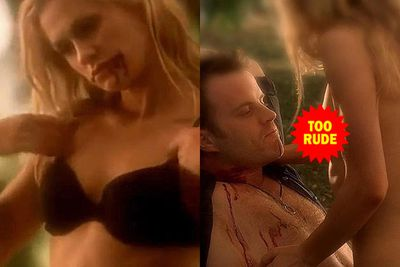 Sookie (Anna Paquin) gave faerie-vampire Warlow (Rob Kazinsky) a graphic sexual surprise in faerie land.