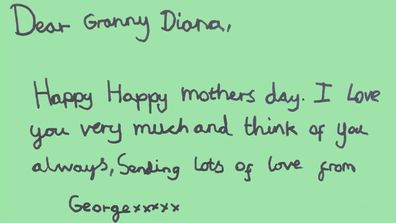 Prince George's Mother's Day card to Princess Diana.