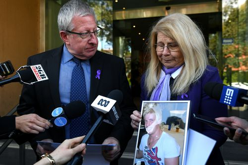 Mark and Faye Leveson speak to media at the inquest today. (AAP)