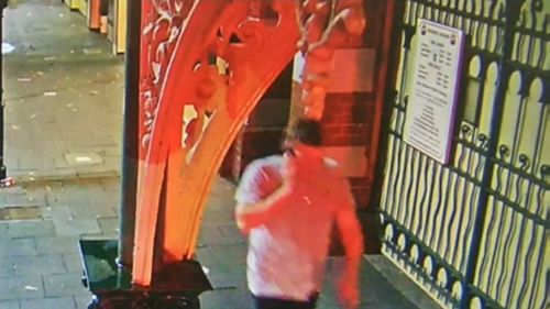 A Perth dad remains in hospital and police are looking for the man pictured, who is accused of attacking three men on Saturday night in Fremantle.