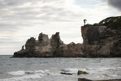 The natural bridge of Punta Ventana collapsed during the morning's earthquake.