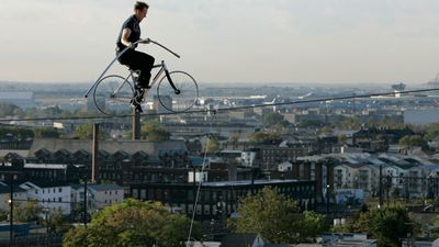 Wallenda is the seventh generation of the Flying Wallendas circus family. He is pictured on a bike on a wire 12 stories above the street in New Jersey in 2008. (AP Photo/Mike Derer)