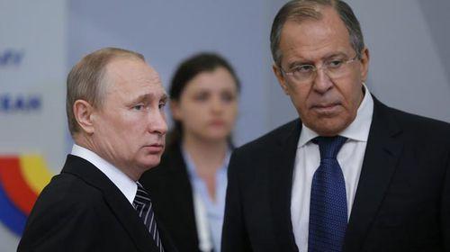 Russian President Vladimir Putin and Foreign Minister Sergei Lavrov.