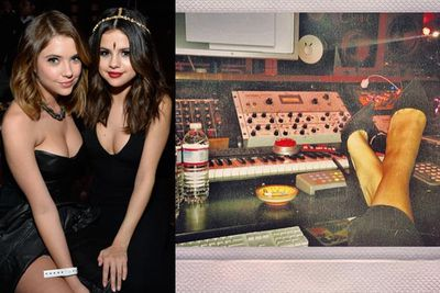 """On Grammys day, Selena Gomez posted a picture on Instagram from her recording studio with the caption: """"Therapy"""". Maybe she's penning a song about her on-again off-again romance with the Biebs?<br/><br/>At least she made it out on Friday night for the Beats Music Launch Party with <i>Spring Breakers</i> pal Ashley Benson."""
