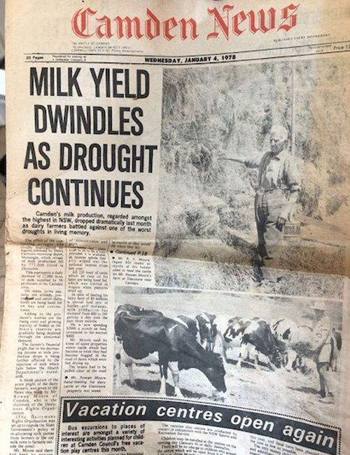 The Moore family keep a copy of a local paper's 1978 drought report which also saw their farm  stricken.