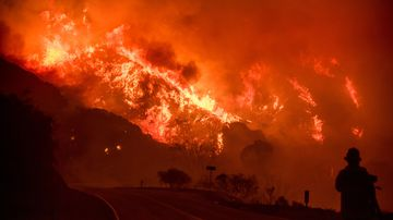 The Thomas fire burns through Los Padres National Forest near Ojai, California. (AAP)