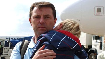 Gerry McCann lands at East Midlands Airport after flying back to the UK from Portugal in 2007.