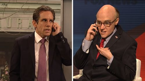 Ben Stiller, portraying former Trump attorney Michael Cohen, calls current attorney Rudy Giuliani, played by Kate McKinnon. (Saturday Night Live/Broadway Video)