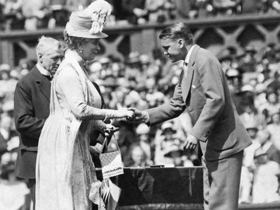 King George V and Queen Mary at the Jubilee Lawn Tennis Championships at Wimbledon, London, England, 1926. The King presented commeration medals to former champions and Queen Mary is greeting Vincent Richards of the United States, doubles winner in 1924. (Photo by Underwood Archives/Getty Images)