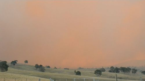 Thick smoke choked the sky from fires on the NSW south coast.