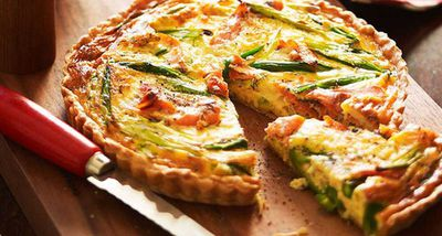 "Recipe: <a href=""http://kitchen.nine.com.au/2016/05/16/10/47/smoked-salmon-and-asparagus-quiche"" target=""_top"">Smoked Salmon and asparagus quiche</a>"