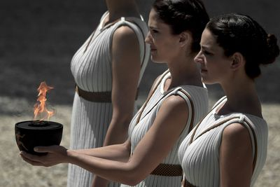 The modern Olympic flame is ignited at the site where the temple of Hestia used to stand. In Ancient Greek religion, Hestia is a virgin goddess of the hearth, architecture, and the right ordering of domesticity, the family, and the state.