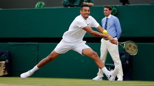 Nick Kyrgios during his match on Sunday (AAP)
